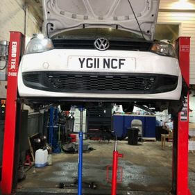 VW car being fixed